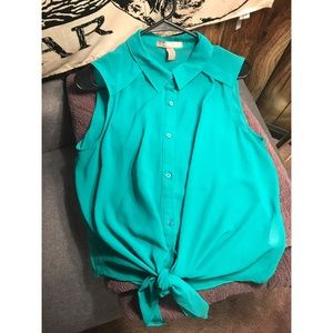 Forever 21 teal green sheer button down blouse
